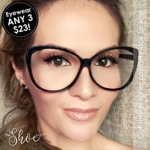 The Shoe Loft Accessories - Black or Tortoise Non-Prescription Cat Eye Glasses